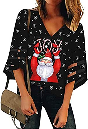 Basic Model Women's Mesh Pancel 3/4 Bell Sleeve Blouse V-Neck Casual Loose Tops Christmas Holiday Graphic Shirt (S, Black)