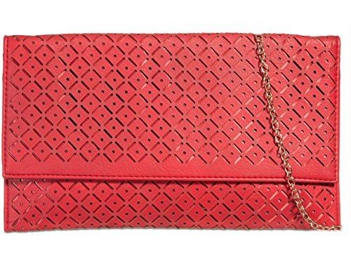 Clutch Red Leather Women's 90358 Bag Faux Bridal's LeahWard Handbags Wedding qwfHTSnxC
