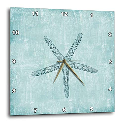 3dRose dpp_178911_3 Aqua Starfish Abstract Beach Theme-Wall Clock, 15 by 15-Inch