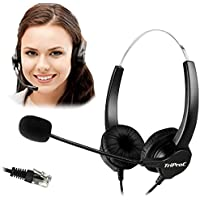 TRIPROC 4-Pin RJ9 Hands-free Call Center Corded Binaural Telephone Headset with Noise Cancelling Microphone and Adapter Compatible with Plantronic,Avaya,Grandstream,Aastra,Jabra