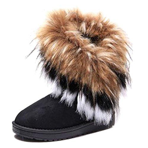 KINDOYO Women Winter Warm High Long Snow Ankle Boots Fur Tassel Shoes Ladies Thick Warm Snow Boots Black zpRSEKPbB