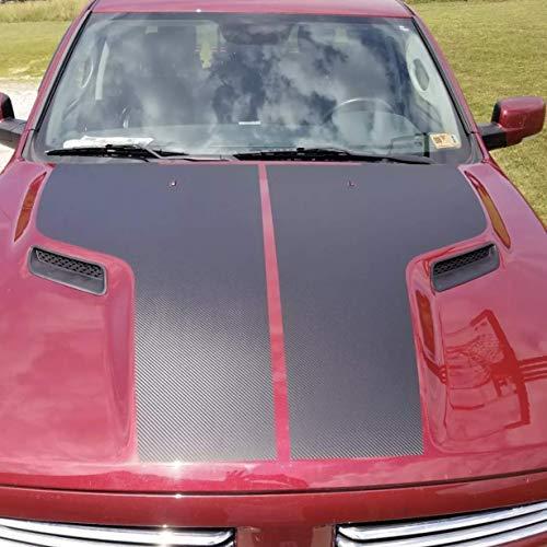 (IchthusGraphics Dodge Ram 1500 Hood Decals Compatible with HEMI 5.7 Sport SRT RT Rebel Accessories Blackout Vinyl | Dual Racing Stripes | Truck Car Body Graphics | Stickers Car Wrap)