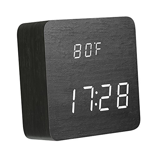 DIGOO DG-AC1 Wooden LED Digital Alarm Clock with Time Temperature and Voice Control, 2 Mode Time Display Desk Clock