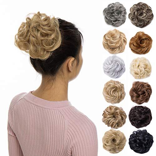Scrunchy Updo Wavy Straight Hair Bun Clip Messy Donut Chignons Synthetic Hairpiece Hair Extension (dark blonde & ash blonde)