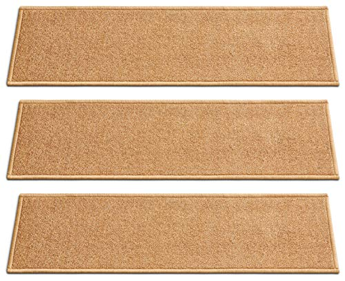 [Set of 7] Beige Solid Color Stair Tread Rugs | Modern Design Carpet Treads [Easy to Clean] Rubber Non-Slip Non-Skid Backing | Nylon Low Pile 9