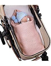 DaMohony Filt för nyfödd baby, småbarn pojkar flickor bomull stickad filt för spjälsäng, barnvagn, bil, mottagande eller linda filt, 100 x 80 cm