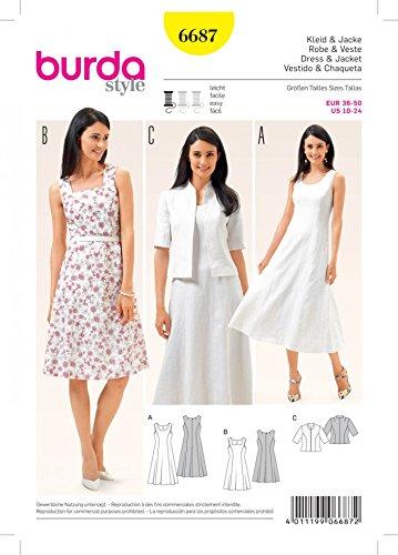 Burda Ladies Easy Sewing Pattern 6687 Dresses & Short Sleeve Jacket