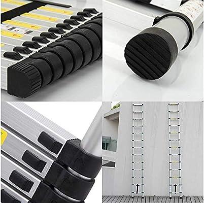 HYLH Escalera extensión 5 Metros Telescópica Aluminio Portátil Compacto Retráctil Alto 13 Pasos Pies Goma Antideslizantes Rectos Simples para usos múltiples - Capacidad 150 kg: Amazon.es: Hogar