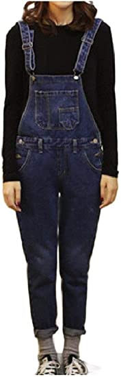 AngelSpace Womens Denim Slim-Fit Ripped Hole Jumpsuit Jeans Casual Overalls