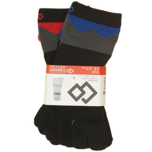 コラントッテ Colantotte 靴下 パイルサポート 5本指ソックス 2足セット ブラック×レッド/ブルー フリー