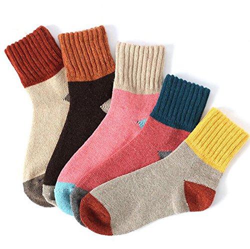 Yshare Women's Super Thick Crew Soft Wool Winter Comfortable Warm Socks (Pack of 5), One Size (5 9), Multicolor