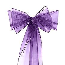 Gracefulvara Organza Chair Sashes Bow for Wedding Cover Banquet 10PCS Organza Chair Sashes Bow for Wedding Cover Banquet 10PCS (purple)