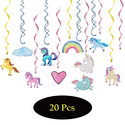 Cartoon Unicorn Rainbow Party Supplies Cut Adorable Unicron Pom Kits Baby Shower First Birthday Kid's Happy Birthday Double Side Double Spiral Hanging Party Swirls Streamers Decorations - 30'' x 20Pcs]()