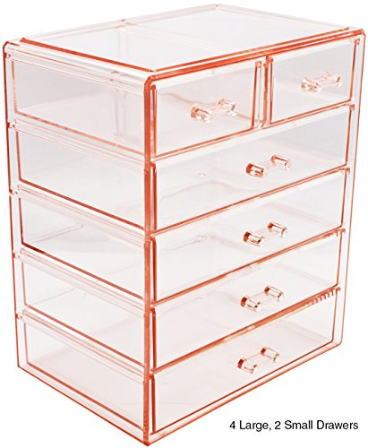 Sorbus Cosmetics Makeup and Jewelry Big Pink Storage Case Display- 4 Large and 2 Small Drawers Space- Saving, Stylish Acrylic Bathroom Case (Pie Display Case)