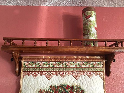 Custom Quilt Display Shelf, Wall Shelf for hanging quilt, banner, tapestry - Galley rail, 26-35