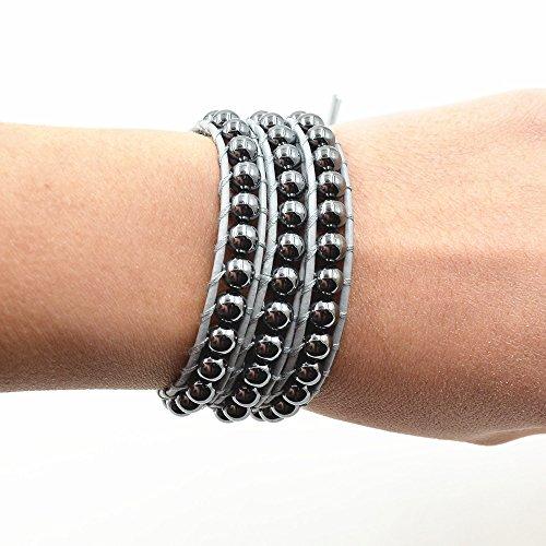 Hematite Beads Stone 3 Wrap Bracelets  For Women Men Best Friend Beaded Cuff Bangle Genuine Leather by changgaijewelry (Image #1)