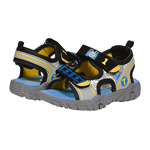 (Thomas and Friends Boys Sandals Size 5 - 10 Toddler, Grey Blue Yellow TPR Sole)