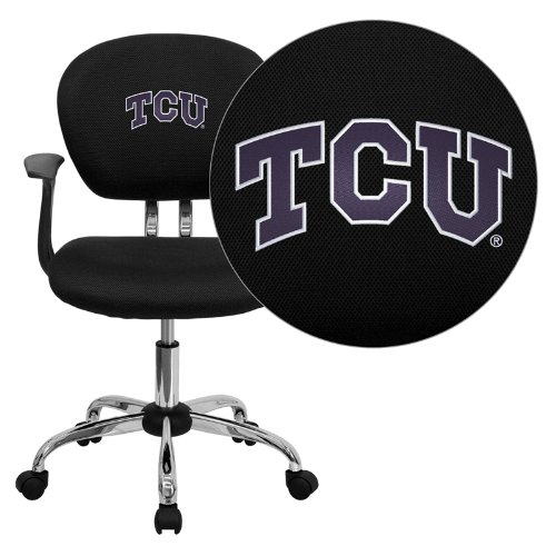 (Flash Furniture Texas Christian University Horned Frogs Embroidered Black Mesh Task Chair with Arms and Chrome Base)