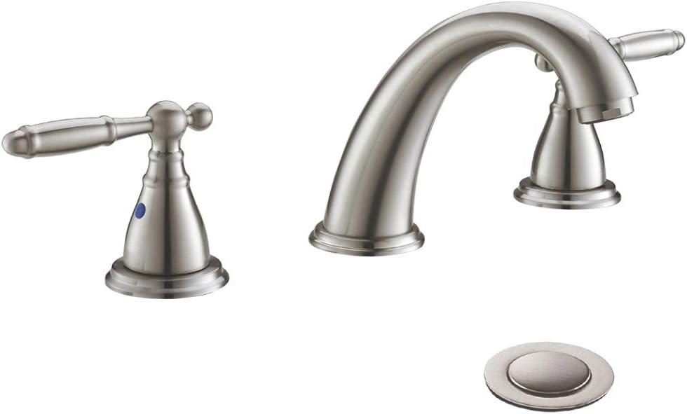 Solid Brass Brushed Nickel 2 Handle Widespread Bathroom Sink Faucet By Phiestina Brushed Nickel 2 Handles Widespread Bathroom Faucet With Stainless Steel Pop Up Drain Wf008 4 Bn Amazon Com