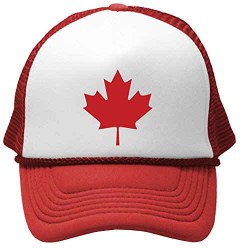 CANADIAN MAPLE LEAF - Mesh Trucker Cap Hat, Red