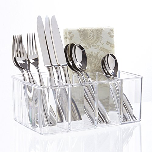 STORi Clear Plastic Utensil and Condiment Caddy | 5 Compartments
