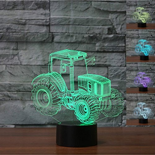 3D Tractor lamp Night Light Touch Table Desk Optical Illusion Lamps 7 Color Changing Lights Home Decoration Xmas Birthday (Goldfish Lamp)