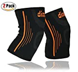 Athletic Knee Brace Compression Sleeve Leg Support for Men Women Kids- Best for Lifting Running Crossfit Reduces Joint Pain Arthritis Meniscus Tear Provides Fast Recovery (L, 2 Pack)