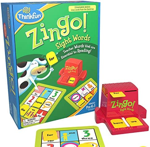 ThinkFun Zingo Sight Words Award Winning Early Reading Game for Pre-K to 2nd Grade – Toy of the Year Finalist, A Fun and Educational Game Developed by Educators for Boys and Girls