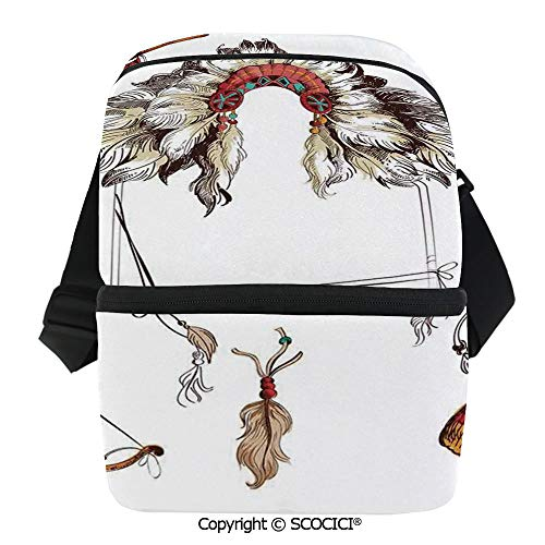 SCOCICI Cooler Bag Ethnic Tomahawk Tribal Native Chef Dreamcatcher Feather Old World Motifs Image Decorative Insulated Lunch Bag for Men Women for Kayak,Beach,Travel,Work,Picnic,Grocery