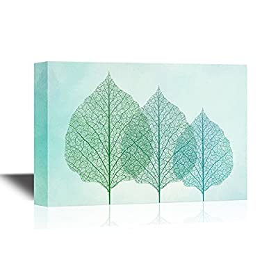Canvas Wall Art - Abstract Leaves with Visible Leaf Vein - Giclee Print Gallery Wrap Modern Home Art | Ready to Hang - 12