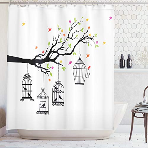 - Ambesonne Flying Birds Decor Collection, Floral Colorful Tree Branch with Birds and Open Cages Freedom Theme Spring Liberty Home, Polyester Fabric Bathroom Shower Curtain Set with Hooks, Multi