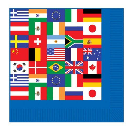 International Flag Luncheon Napkins (2-Ply)    (16/Pkg)