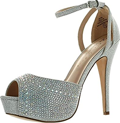 Blossom Womens Vice-126-233 Bridal Formal Evening Party Ankle Strap High Heel Peep Toe Glitter Sandal