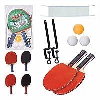 Kit Para Tênis De Mesa Ping Pong 02 Raquetes + 03 Bolinhas + 01 Rede