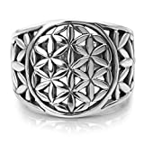 Chuvora 925 Sterling Silver Detailed Flower of Life Symbol Mandala Filigree Large Band Ring Size 9