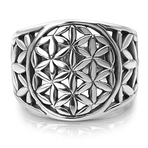 925 Sterling Silver Detailed Flower of Life Mandala Filigree Large Band Ring Size 6, 7, 8