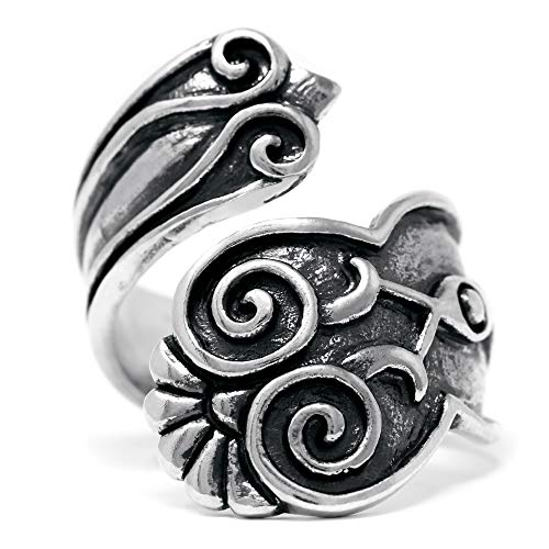 Silver-Wear Swirls Sterling Silver Adjustable Antique Finish Coiled Floral Pattern Spoon Style ()