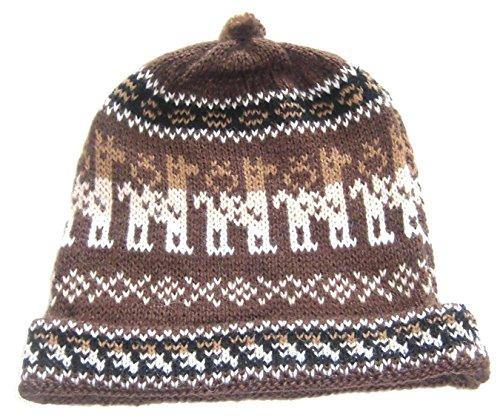 Alpakaandmore, Womens Brown Peruvian Beanie Hat, Alpaca Wool Handmade, One Size (One Size)