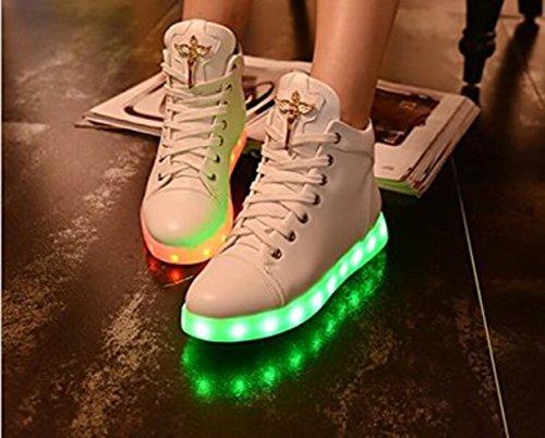 (Present:kleines Handtuch)Schwarz 42 EU Weiß LED athletischen Schwarz Light Glow Sportsschuhe High-Top mode Sneaker Geb rGOjsr