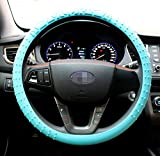 steering wheel cover cute - OHF New Steering Wheel Cover Silicone Geometrical Pattern for Universal Car Diameter 13-15inch Steering Cover (blue)