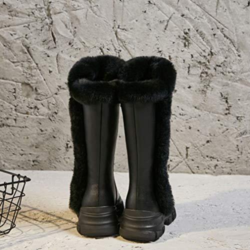 Pelle Neve In Per Stivaletti Da Moda Caldi Nero Stivali Passeggio Scarpe Esterni Donna Yan Invernali qHXwII