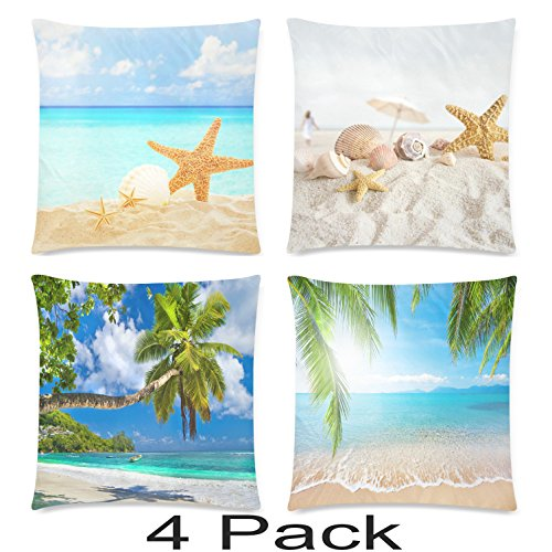 Tropical Cushion - InterestPrint 4 Pack Summer Tropical Beach Pillowcase Pillow Cover 18x18 Twin Sides, Sea Ocean Zippered Throw Cushion Pillow Case Cover Shams Decorative