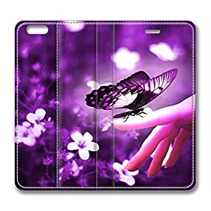Purple Butterfly DIY Leather iphone 6 plus Case Perfect By Custom Service