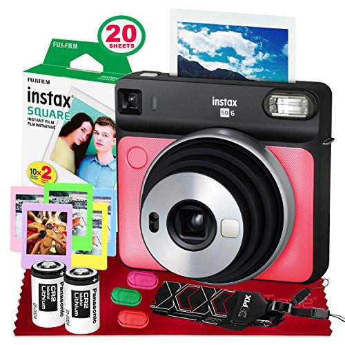 Fujifilm instax Square SQ6 Instant Film Camera (Ruby Red) + 20 Sheets Instax Square Instant Film + Xpix Camera Strap + Fibertique Cloth (USA Warrantty)