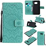 KKEIKO Galaxy S7 Edge Case, Galaxy S7 Edge Flip Leather Case [with Free Tempered Glass Screen Protector], Shockproof Bumper Cover and Premium Wallet Case for Samsung Galaxy S7 Edge (Flower)