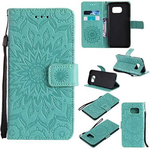 Galaxy S7 Edge Case, KKEIKO® Galaxy S7 Edge Flip Leather Case [with Free Tempered Glass Screen Protector], Shockproof Bumper Cover and Premium Wallet Case for Samsung Galaxy S7 Edge (Flower)