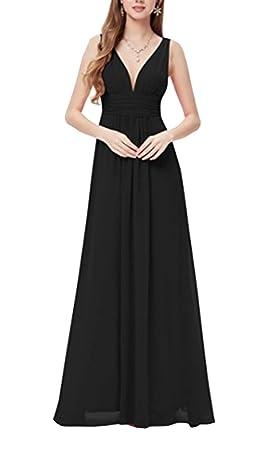 Mujer Retro Casual Vestido Largo De Gasa Para Ceremonia Coctel Partido Vestido Elegantes De Playa Negro