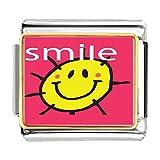 GiftJewelryShop Gold Plated Sunshine Smile Bracelet Link Photo Italian Charm