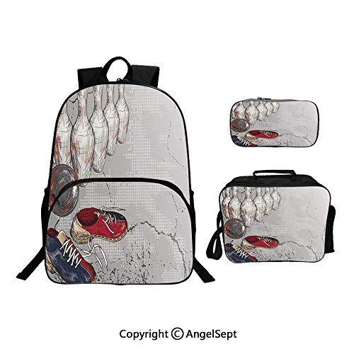 (Hot Sale School Backpack For Girls 3 pcs per set,Bowling Shoes Pins and Ball Artistic Grunge Style Light Grey Red Dark Blue,With Lunch Box Pencil Bag Very Convinent)