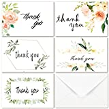 40 Multi Pack Greenery Floral Thank You Cards - 5 Design Modern Green Floral Flower Thank You Notes Greeting Cards 4 x 6 in, Blank On the Inside, White Kraft Envelopes and Stickers Included